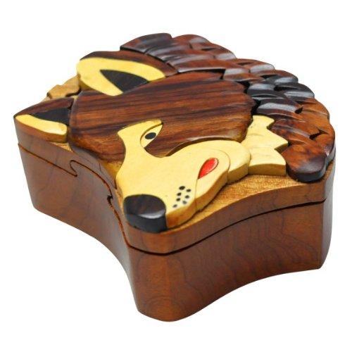 Handmade Wooden Art TRICK SECRET Wolf Puzzle Trinket Box (3005)