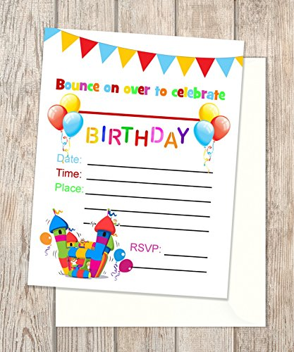 amazon com bounce house fill in blank invitations flat cards set
