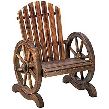 Wagon Wheel Wood Adirondack Style Garden Chair