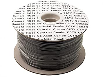 Cable reel- escopeta coaxial RG59 CCTV Cable de vídeo con DC Power Line, 100
