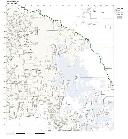 Hernando Florida Map.Amazon Com Zip Code Wall Map Of Hernando Fl Zip Code Map Not