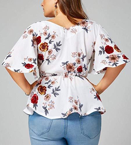 Vintage Fashion Femme Fleur Haut Costume Blouse V Motif Courtes Chic Blanc Elgante Grande Cou Manches Tops Taille Bowknot avec Chemise Et Festive Shirt Ed6twEq