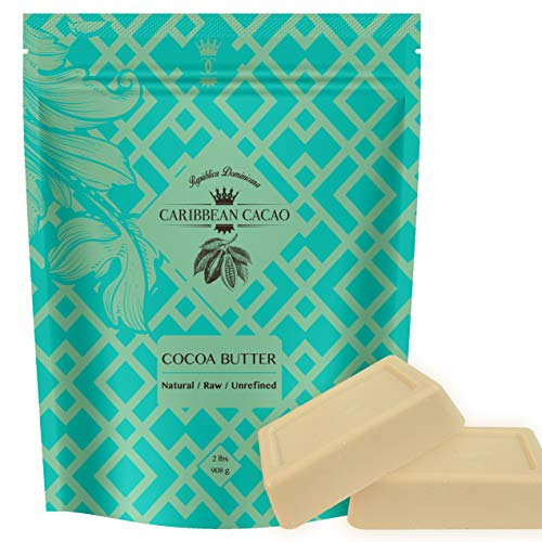 Caribbean Cacao Ultimate Cocoa Butter - Delightfully Rich Scent & Highest Quality, From our exclusive source in the Dominican Republic. 2 LB Body Butter Bar For Stretch Marks, Dry Skin, - Fat Balm