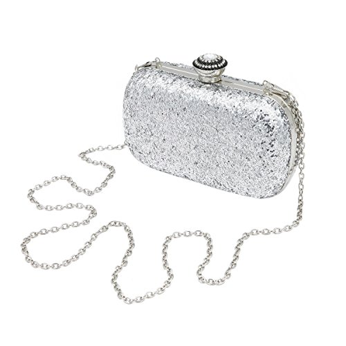 Evening Colors Sequin Silver Glitter 4 Rhinestones Clutch Flakes Top Elegant Bag Hard OnRqxZwwU