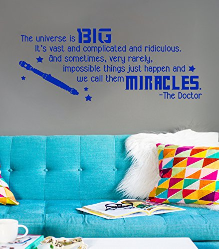 DW Inspired Big Miracles Quote [BLUE] Vinyl Wall Decal by...