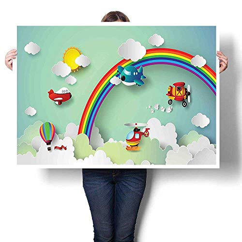 SCOCICI1588 Art Canvas Prints,Hot Air Balloon Helicopter for sale  Delivered anywhere in USA