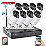 Yeskam Outdoor Wireless Home Security Camera System 1080P 8 Channel and 8 Night Vision 2.0 Megapixel WiFi IP Surveillance Camera with 2TB Hard Drive