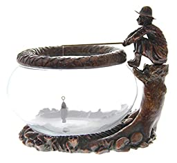 JustNile Decorative Glass Fish Bowl - Oriental Inspired Design of Old Man Fishing