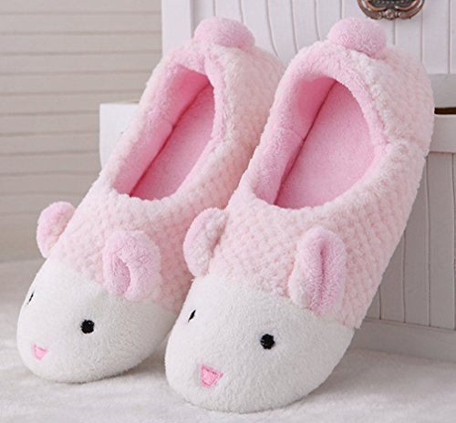 Cattior Womens Cute Furry House Shoes Bunny Slippers Pink 4AP3ABal6