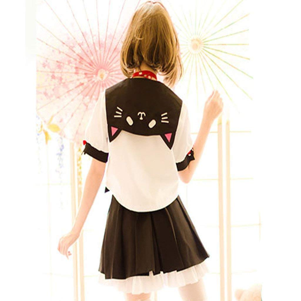 SSJ Japanese Sailor Uniform JK Cute Cat Girls High Neko Atume Style Costume White by SSJ (Image #4)