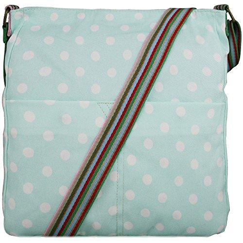 Women Girls Owl Canvas Bag Flower Blue Polka Dot Butterflies - Light Blue