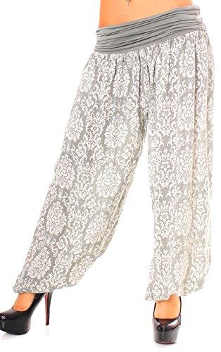Harén Pantalón Mujer avispas ancho de pantalón Farbige pluder–Pantalón Globo con Royal Print costura gris claro