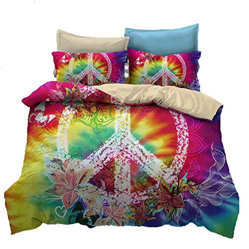 - Suncloris,Hippie Psychedelic Tie-Dyed Backdrop Peace Sign,Bedding Boys Girls Watercolor Colorful Art Duvet Cover Set (Queen)