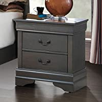 Furniture of America CM7866GY-N Louis Philippe III Gray Nightstand, 23.75 H