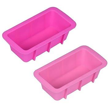 igemy silicona Pan de molde para tartas para hornear molde antiadherente para horno rectangular molde rosa: Amazon.es: Hogar