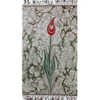 Islamic Prayer Mat - Chenille Muslim Namaz Sajjadah Janamaz Thin Turkish Tulip Ebru (Gray)