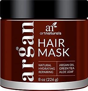 ArtNaturals Argan Oil Hair Mask - Deep Conditioner, 100% Organic Jojoba, Aloe Vera and Keratin, Repair Dry, Damaged or Color Treated Hair after Shampoo for All Hair Types, Sulfate Free, 8 oz.