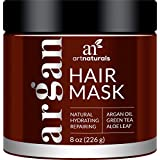 ArtNaturals Argan Oil Hair Mask - Deep Conditioner - 100% Organic Jojoba, Aloe Vera and Keratin - Helps Repair Dry, Damaged or Color Treated Hair after Shampoo - for All Hair Types - Sulfate Free - 8 oz / 236 ml.