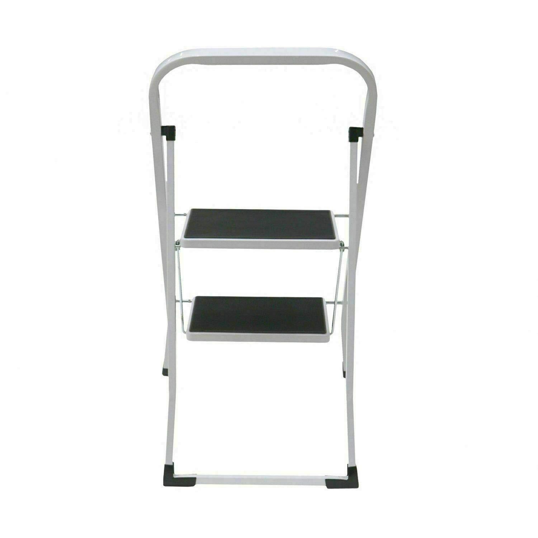 HIGHLIVING Faltbare 2-Stufenleiter Trittleiter Rutschfeste Lauffl/äche Sicherheitsstahl Heim K/üche