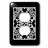 3dRose Russ Billington Designs - Hearts and Flowers Tile Design in Black and White - Light Switch Covers - 2 plug outlet cover (lsp_262263_6)