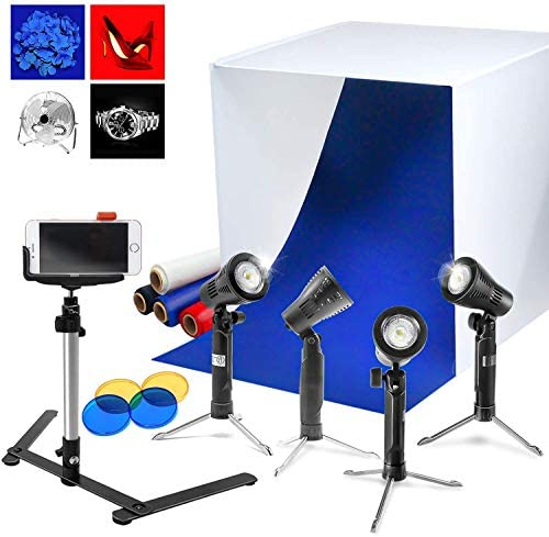 Video Photography Commercial Product Image Shooting LimoStudio 15 x 20 inch White Portable Table Top Lighting Box with 4 Gradation Color Backdrop AGG2578