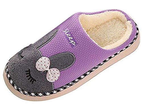 Unisexe Slippers Hiver Chaussons Confortables Violet Bande Peluche Couple Style Pantoufles Doux Minetom Dessinée dZ6Fqdw