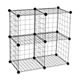 Floor Standing 4-Cube Wire Storage Shelf Unit Shelves Bins Closet Room Organizer