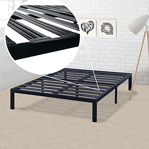 Full Bed Frame - 14 Inch Metal Platform Beds [Model E] w/ Steel Slat Support (No Box Spring Needed), Black ()