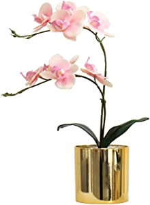 Wyxy Artificial Butterfly Orchid Simulation Romantic Fake Flower Potted Plant Ornament for Indoor Home Garden Party Decoration (Pink)