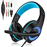 Gaming Headset, 3.5mm Wired Game Headphone Earphone with Mic Surround Stereo Bass,Noise Reduction, LED Light, for PS4 New Xbox One Nintendo Switch PC Computer Laptop Mobile Phones (Blue)