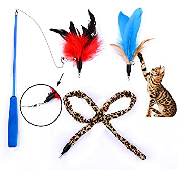 Lupapa interactive cat feather toy for Retractable cat wand