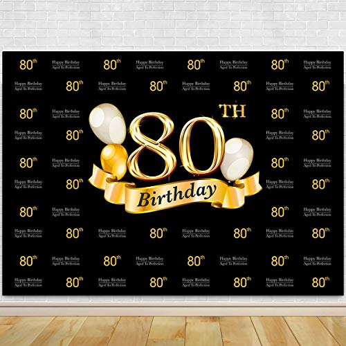 Glitter Gold and Black Photo Studio Booth Background Adult Happy 80th Birthday Party Decorations Banner Backdrops for Photography ()