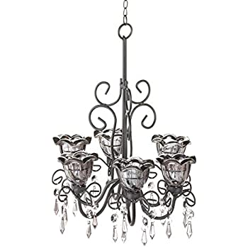 Amazon midnight blooms hanging candle chandelier with dangling midnight blooms hanging candle chandelier with dangling crystals aloadofball Image collections