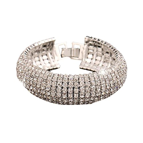 Lisingtool Rhinestone Stretch Multilayer Bracelet for Wedding Prom Party Bracel - Silver Jewelry Indian Watch