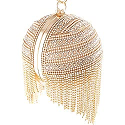 Gold-A Round Ball Clutch With Rhinestone Tassles & Ring Handle
