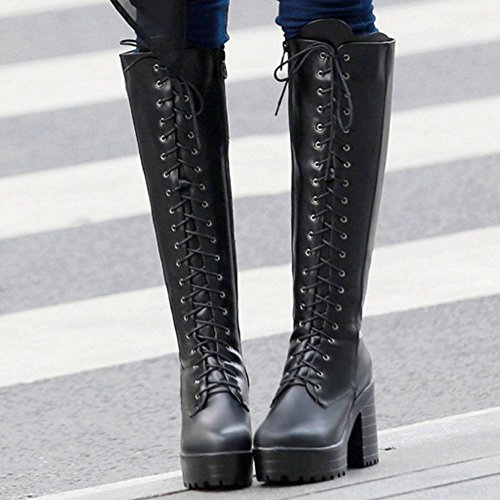 KemeKiss Women Long Zipper Black Boots Fashion qpxgwrCaq