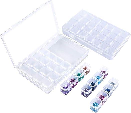 Neborn 28 Rejillas Caja de Almacenamiento de plástico Transparente Ajustable para Caja de Herramientas de joyería de componentes pequeños Organizador de píldoras de Perlas Arte de uñas (2 Piezas): Amazon.es: Hogar