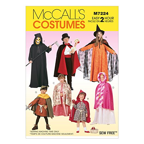 McCall's Patterns M7224 Children's, Boys' and Girls' Cape and Tunic Costumes Sewing Template, KID (All Sizes In One (Cummerbund Costume)