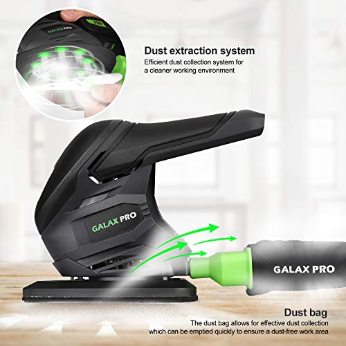 GALAX PRO Cordless Sander 20V, 20Pcs Sandpapers,12000 RPM Sanders with Dust Collection System for Tight Spaces Sanding in Home Decoration- Tool Only