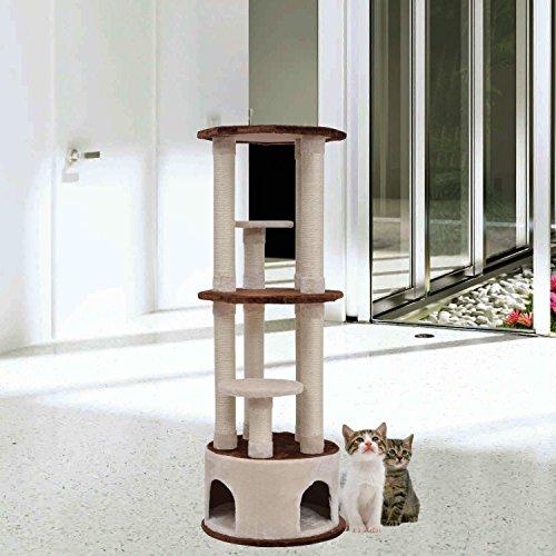 PawHut 61'' Cat Scratcher Tree Condo Perches Post Tower Furniture Pet House - 61' Metal