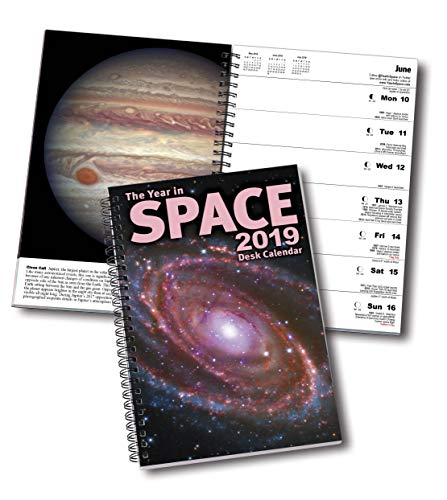 "The Year in Space 2019 Desk Calendar, Spiral Bound 6"" x 9"", 136 Pages, 53 Weekly Astronomy and Space Exploration Images, Daily Moon Phases, Space History, Sky Events, Planning Calendars"