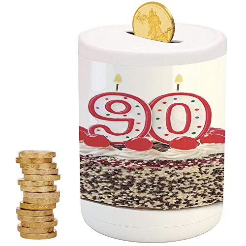 90th Birthday Decorations,Ceramic Child Bank,Printed Ceramic Coin Bank