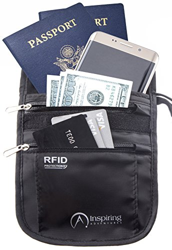 Inspiring Adventures RFID Water Resistant Neck Wallet Travel Pouch