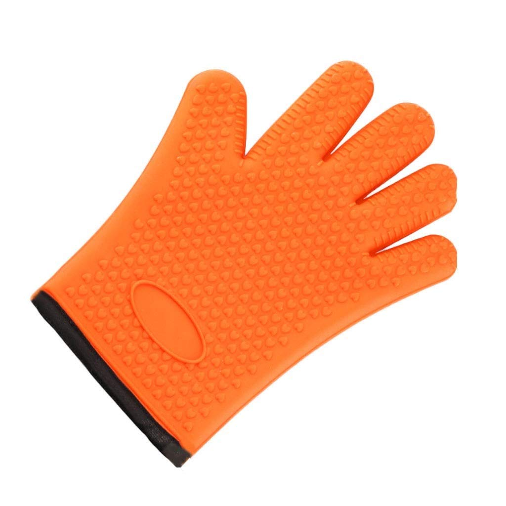 LQQGXL Protective Gloves High Temperature Silicone Anti-scalding Waterproof Cotton Household Oven Gloves Microwave Oven Insulation Gloves