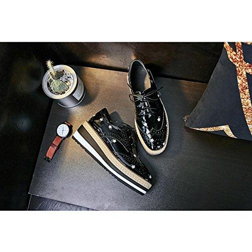 Verni Cuir KJJDE Femme Mocassins WSXY à A0210 black Plateformes Chaussures SXYqfY