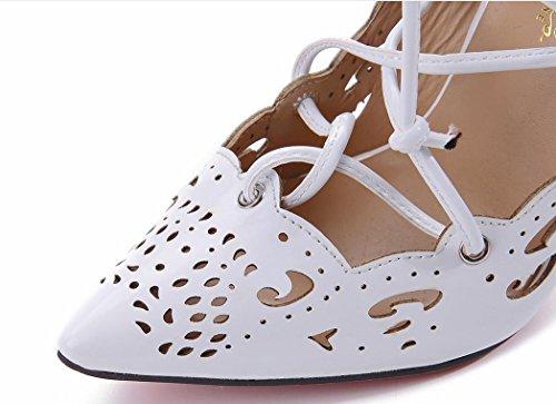 YCMDM donne Grandi sandali Officine scavato Tacchi alti singoli pattini 39 36 35 38 37 40 41 42 43 , white , 39