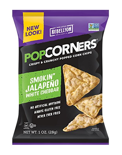 POPCORNERS Jalapeno Cheddar Popped Corn Snacks, Gluten Free, Single-Serve 1oz Bags (Pack of 40) - Packaging May Vary