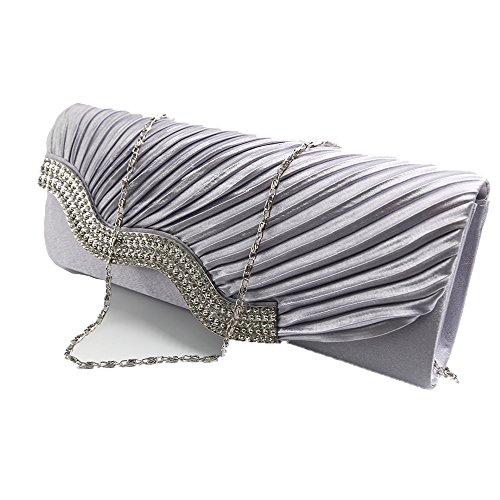 Crystal Silver001 Dark Clutch Pleated Diler studded Womens Blue0001 Handbag Evening Satin fOBqUwvE
