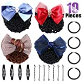Swpeet 19Pcs Hair Clip Bun Cover Set, Including 4Pcs Different Women's Two-Way Snood Net Bow Barrette Hair Clip Bun Cover with 4Pcs Hair Elastics Hair Ties and 11Pcs Hair Pins