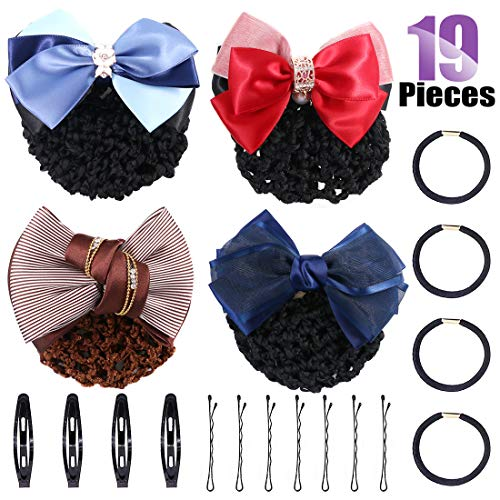 - Swpeet 19Pcs Hair Clip Bun Cover Set, Including 4Pcs Different Women's Two-Way Snood Net Bow Barrette Hair Clip Bun Cover with 4Pcs Hair Elastics Hair Ties and 11Pcs Hair Pins